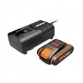 WORX 20V Комплект WORX3601: 1 аккумулятор 2 Ah и зарядное устройство на 2Ah