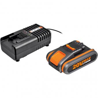WORX 20V Комплект WA3604: 1 аккумулятор 4 Ah и зарядное устройство на 2Ah