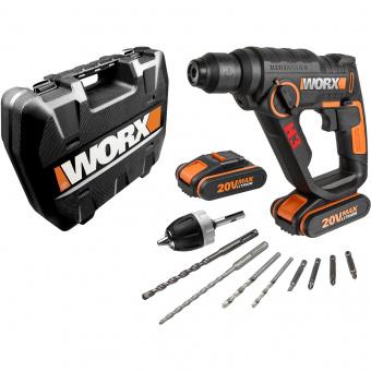WORX 20V Перфоратор аккумуляторный WX 390.1, комплект с 2 АКБ 2 Ah и ЗУ, кейс