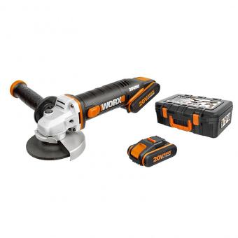 WORX 20V Угловая шлифмашина аккумуляторная WX800, 115 мм, комплект с 2 АКБ 2 Ah и ЗУ, кейс